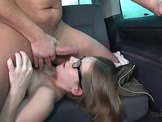 Girl rides and sucks dick on the in all directions fundament in nerdy can scenes