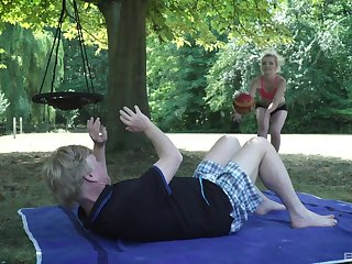 Crazy alfresco sex with an old man and a pretty slutty teen