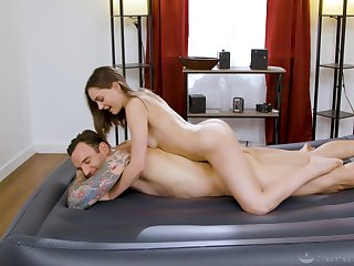 Masseuse sucks and rides client down real passion and lust