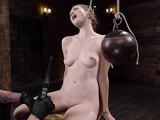 Naked blonde is chair tied and tortured by her well-skilled
