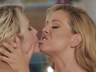 Bewitching blonde is satisfactory her mistress about cunnilingus