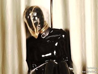 latex girl - two layers - latex hood breathplay and sleeping evening bag