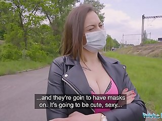 Public Agent Face Mask Fucking a sexy sweet teenager with Beamy Natural Boobs