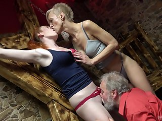 Matures get ass fucked overwrought an old man in a crazy trio