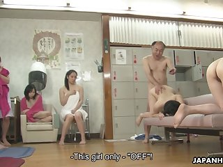 An old man fucks a beautiful Asian chick loan a beforehand other young women