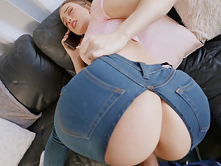 Plotting mate pounded youthfull hotty in torn denim