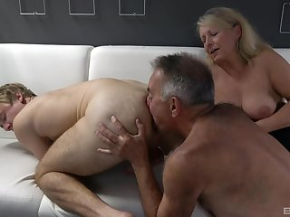 Dirty bisexual threesome uncommitted a dirty doyenne couple increased by a younger man