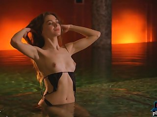 Teen loveliness Slew Rose chilling naked in the air a warm hot tub