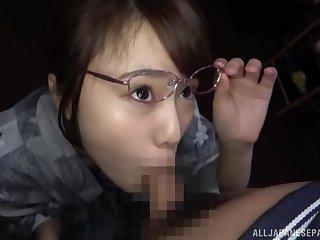 Amateur Japanese girl Morishita Mirei with glasses gives a BJ in passenger car