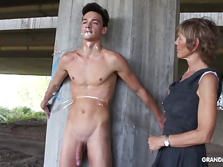 Nympho granny sucks a big cock of likely up naked guy