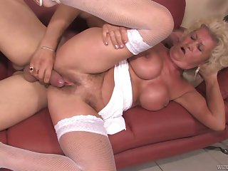 Venerable slut exclusively dates and fucks younger men and go wool-gathering woman got big tits